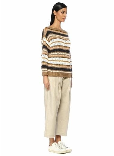 Brunello Cucinelli 101344096 Yüksek Bel Bol Kesim Pilili Kadın Keten Pantolon Bej